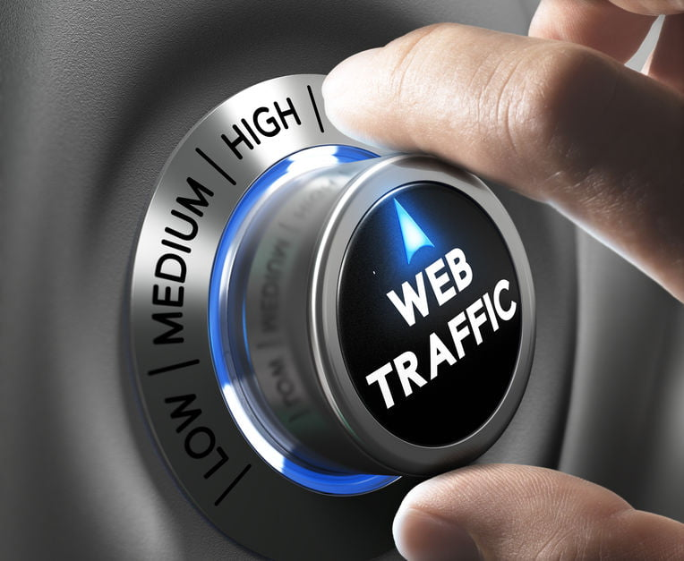 Web traffic button pointing high position with two fingers, blue and grey tones, Conceptual image - ensure your website creates business